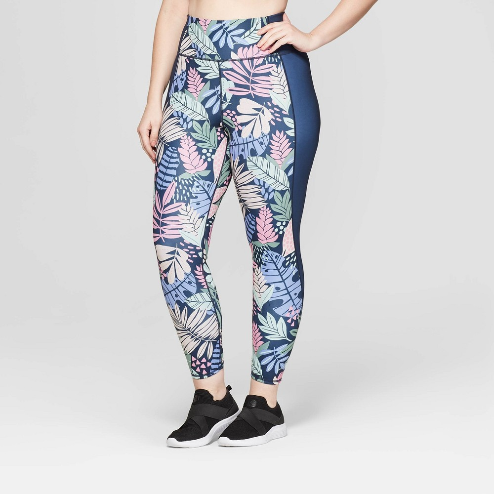 Image of Women's Plus Size High-Waisted 7/8 Reversible Leggings - JoyLab Navy 3X, Women's, Size: 3XL, MultiColored
