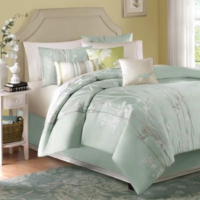 Athena 7 Piece Jacquard Comforter Set - Green (Queen)