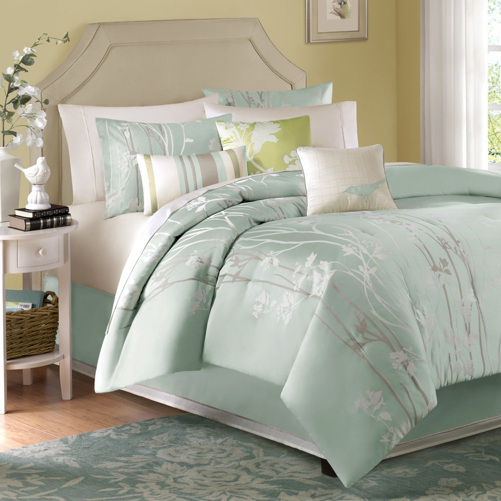 Athena 7 Piece Jacquard Comforter Set - Green (California King)