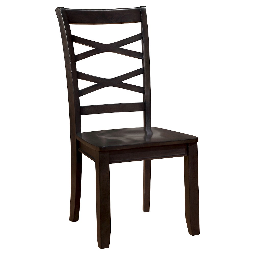 Sun & Pine Emery Transitional Cross Back Side Dining Chair - Espresso (Set of 2)