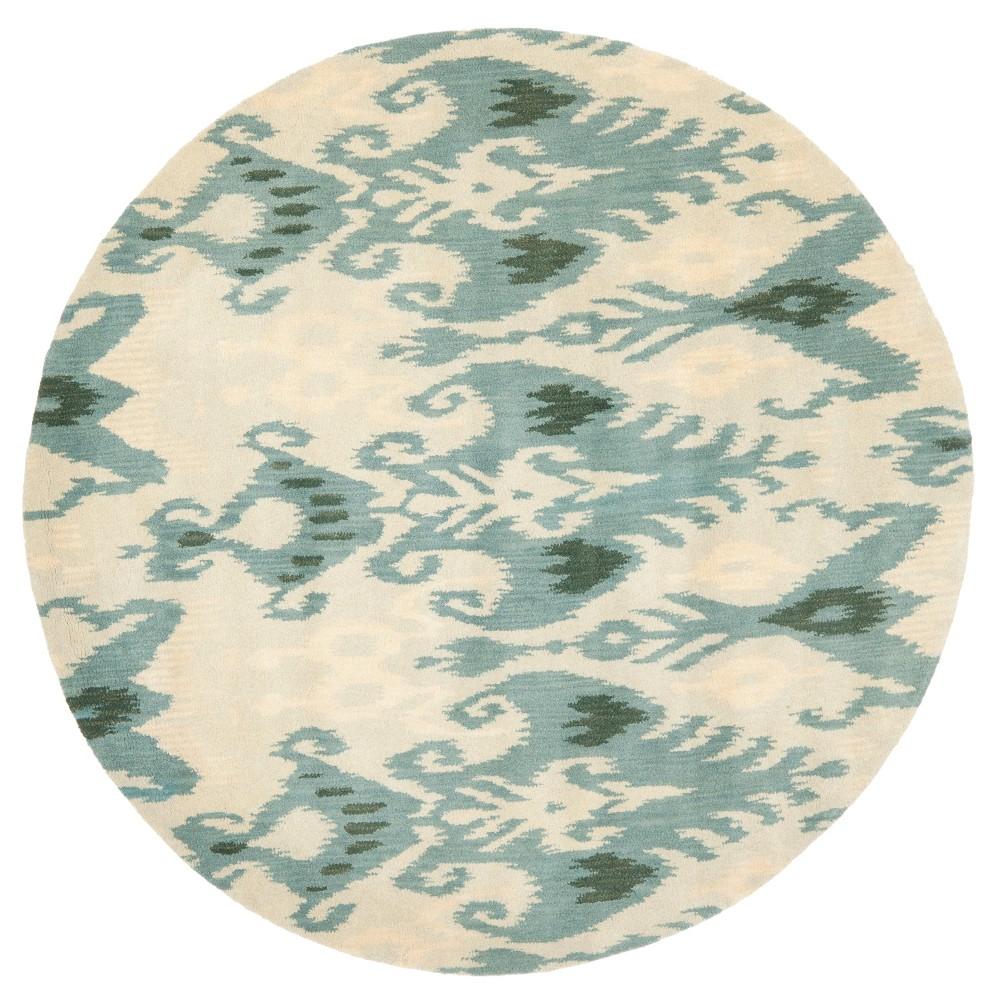 Beige/Slate (Beige/Grey) Abstract Tufted Round Area Rug - (6') - Safavieh