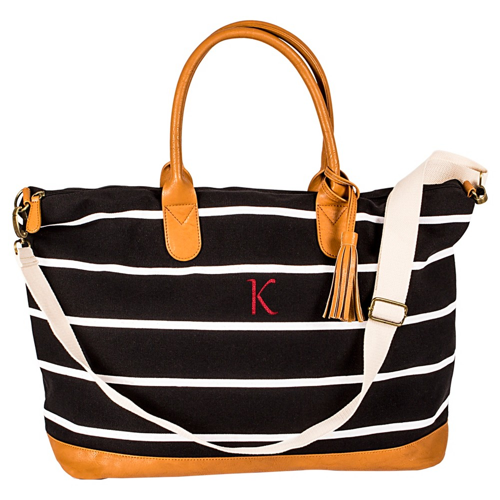 Cathy's Concepts Women's Monogram Weekender Bag - Black Stripe K, Black - K