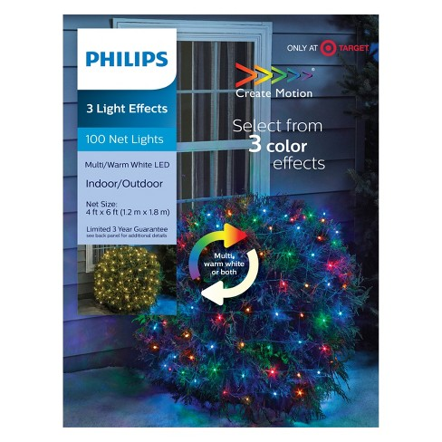 philips 100ct christmas led 3 color effects smooth mini net lights bi color warm whitemulticolored gw target