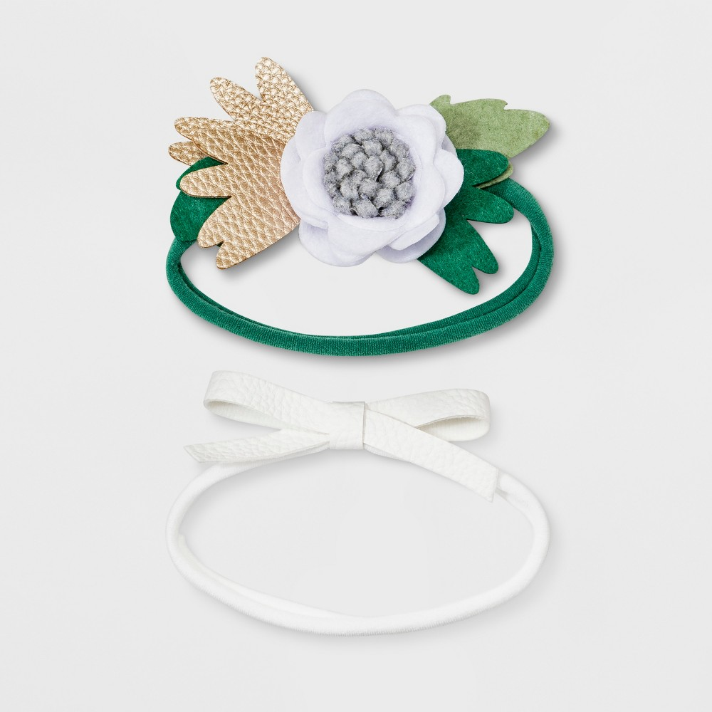 Baby Girls' 2pk Headwrap - Cloud Island One Size, Multi-Colored