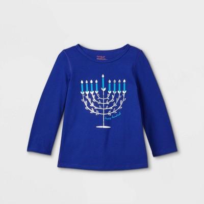 Toddler Girls' Adaptive Hanukkah Menorah Long Sleeve Graphic T-Shirt - Cat & Jack™ Blue