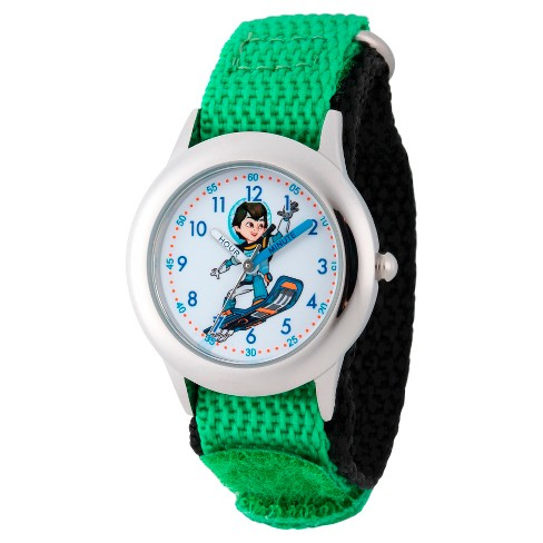 Boys' Disney Miles from Tomorrow Land Stainless Steel Time Teacher Watch - Green - image 1 of 2