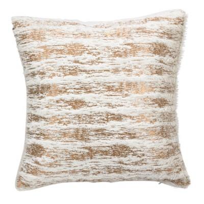 """15""""x15"""" Down Filled Foil Print Faux Fur Throw Pillow - Saro Lifestyle"""