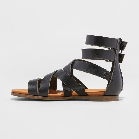5904b5a95632 Women s Rosalee Microsuede Wide Width Gladiator Sandals - Universal Thread™  Black 10W   Target