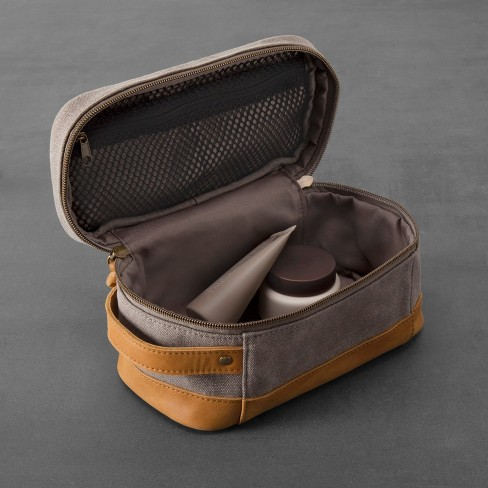 Canvas   Leather Toiletry Bag - Gray Tan - Hearth   Hand™ With Magnolia    Target b75e029ae57a6