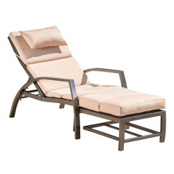 Napa Aluminum Chaise Lounge - Tan/Dark Brown - Christopher Knight Home