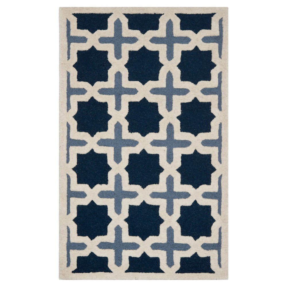2 6 X4 Geometric Accent Rug Blue Ivory Safavieh