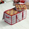 """OSTO Clear Plastic Christmas Ornament Storage Box Stores Up to 128 Ornaments of 3""""; 2-way zipper,Carry Handles. Tear Proof and Waterproof - image 4 of 4"""