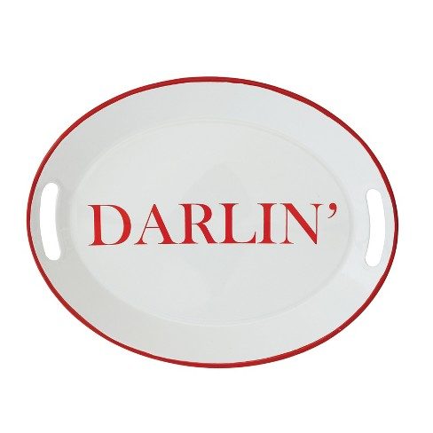 """16.2"""" x 12.7"""" 'Darlin' Serving Tray White/Red - 3R Studios - image 1 of 1"""