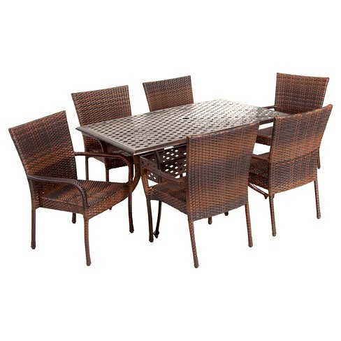 Littleton 7pc Cast Aluminum and Wicker Dining Set - Bronze/Brown - Christopher Knight Home - image 1 of 4