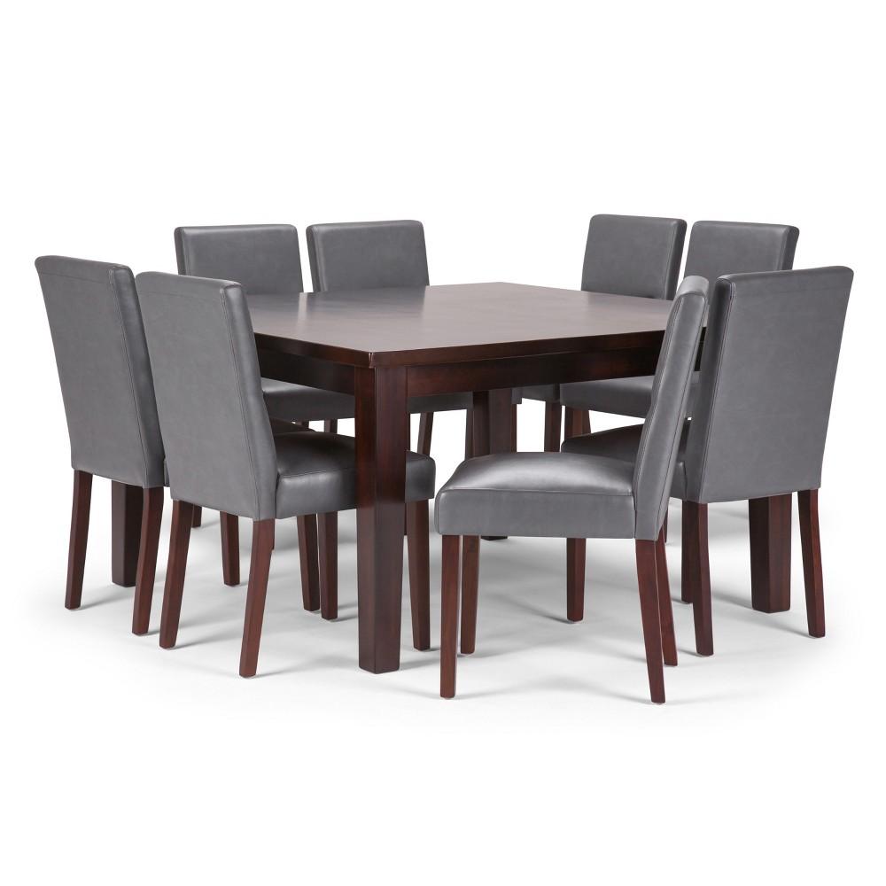 Seymour Solid Hardwood 9pc Dining Set Stone Gray - Wyndenhall