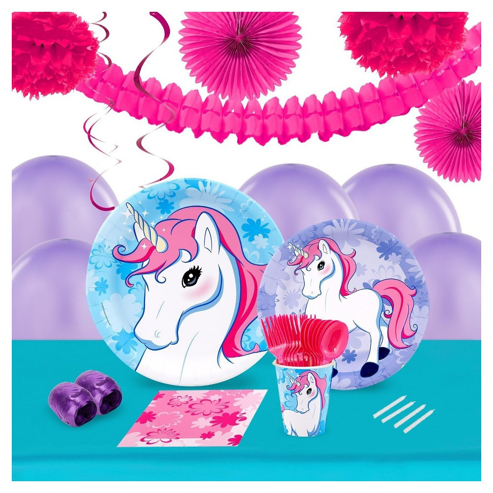 Enchanted Unicorn 16 Guest Party Pk with Decoration Kit