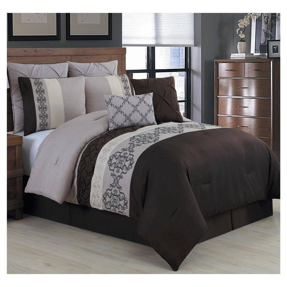 Taupe Alessandra Comforter Set (Queen) 8pc, Brown
