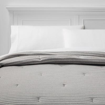 Full/Queen Jersey Comforter Gray Stripe - Room Essentials™