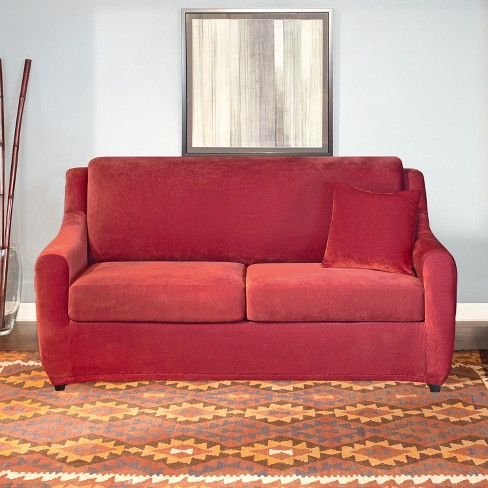 Stretch Pique 4pc Full Size Sleeper Sofa Slipcover Dark Red - Sure Fit