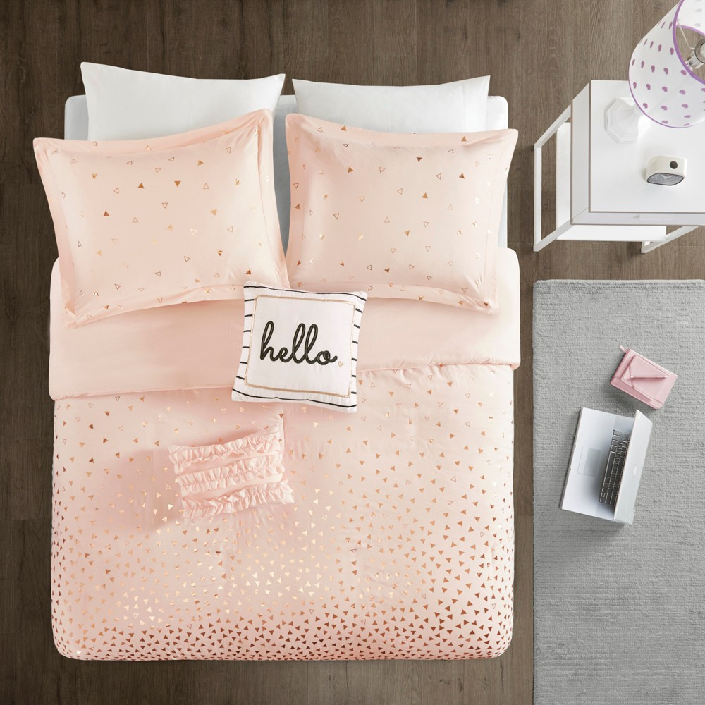 Twin/Twin XL 4pc Nova Metallic Duvet Cover Set Blush/Rosegold Reviews