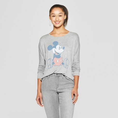 Women's Disney Long Sleeve Mickey Mouse Graphic T-Shirt (Juniors') Heather Gray XL - image 1 of 2