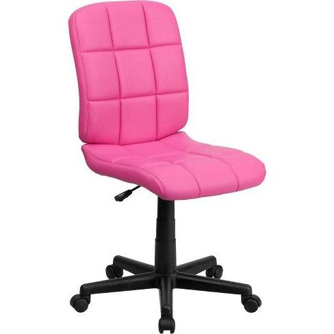 Mid Back Swivel Task Chair Pink Quilted Vinyl Flash Furniture Target