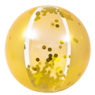 """Pool Central 19.5"""" Gold Glitter Sequin Inflatable Beach Ball"""