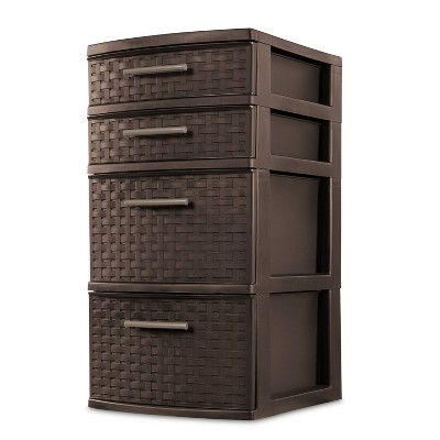Sterilite 4 Drawer Medium Weave Tower Brown
