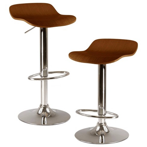 Kallie Set of 2 Air Lift Adjustable Stool, Cappuccino Wood Veneer Top and Metal Base - Cappuccino, Metal - Winsome - image 1 of 4