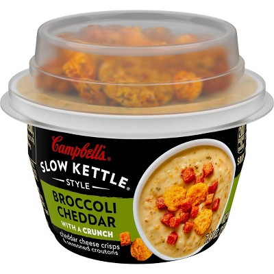 Campbell's Slow Kettle Style Broccoli Cheddar Soup With Crunchy Toppings, Gourmet Snack, 7.44oz Microwavable Cup
