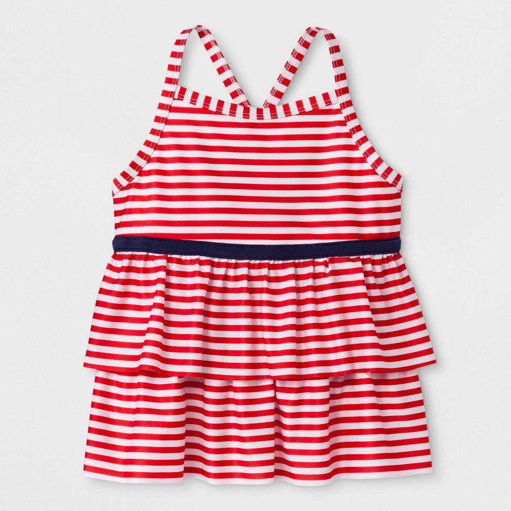 Girls' Adaptive Stripe Tankini Swim Top - Cat & Jack Red S