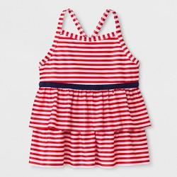Girls' Adaptive Stripe Tankini Swim Top - Cat & Jack™ Red