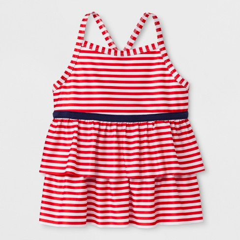 Girls' Adaptive Stripe Tankini Swim Top - Cat & Jack™ Red - image 1 of 2