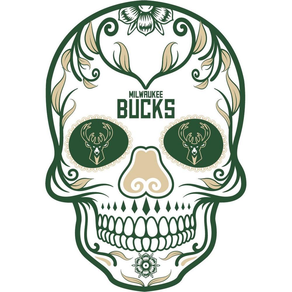 NBA Milwaukee Bucks Large Outdoor Skull Decal