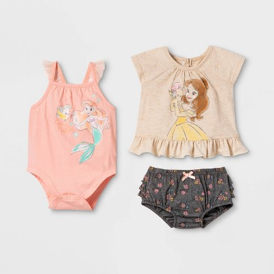Baby Girls' 3pk Disney Princess Top and Bottom Set - Beige 6-9M