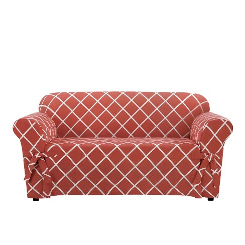 Lattice Loveseat Slipcover Coral - Sure Fit - image 1 of 2