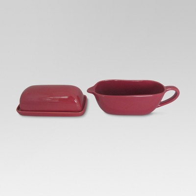 Camden Butter Dish and Gravy Boat Set Red - Threshold™