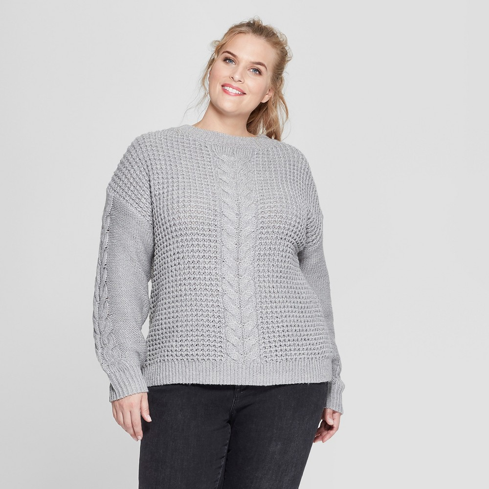 Plus Size Women's Plus Long Sleeve Placed Cable Pullover Sweater - Ava & Viv Gray 1X