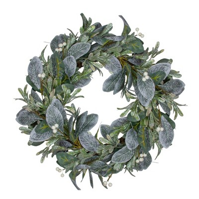 Northlight Iced Leaves and Winter Berries Artificial Christmas Wreath - 24 inch, Unlit