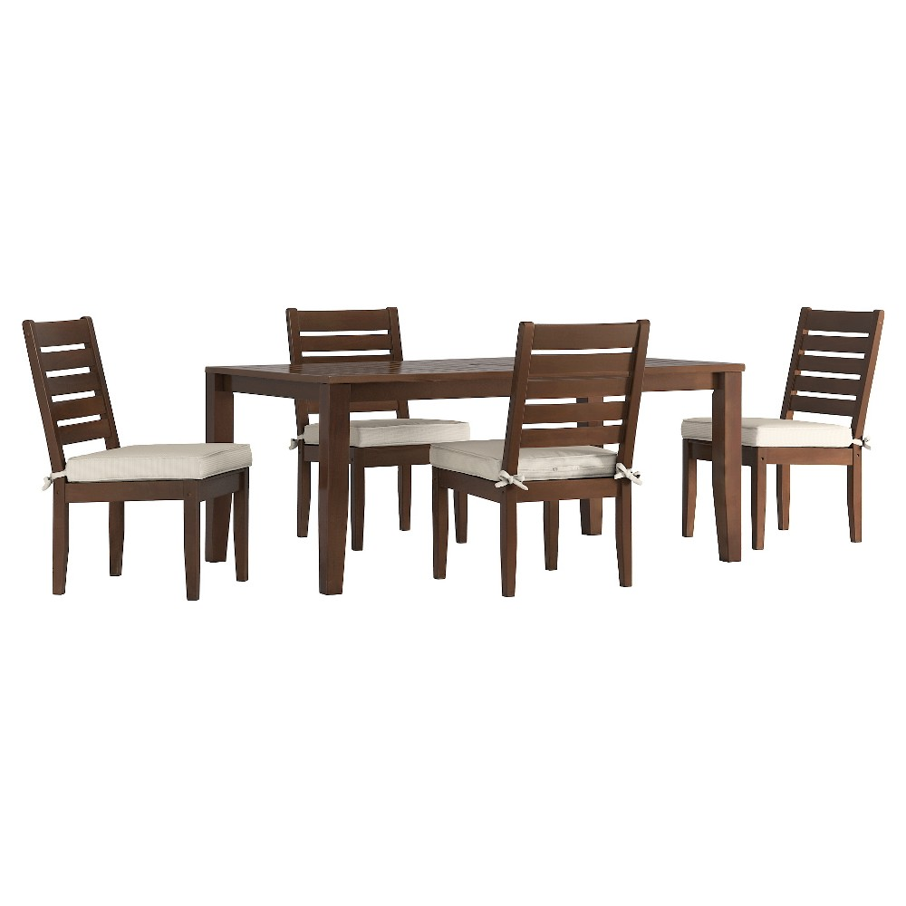 Parkview 5pc Rectangle Wood Patio Dining Set w/ Cushions - Brown/Beige - Inspire Q