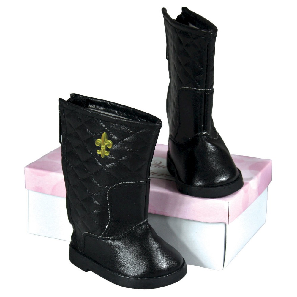 The Queen's Treasures 18 Inch Doll Clothes Accessory, Black Quilted Designer Boots & Authentic Shoe Box