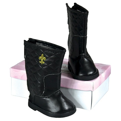 The Queen's Treasures® 18 Inch Doll Clothes Accessory, Black Quilted Designer Boots & Authentic Shoe Box - image 1 of 3