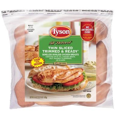 Tyson Thin Sliced Trimmed & Ready Boneless & Skinless Chicken Breast - Frozen - 36oz