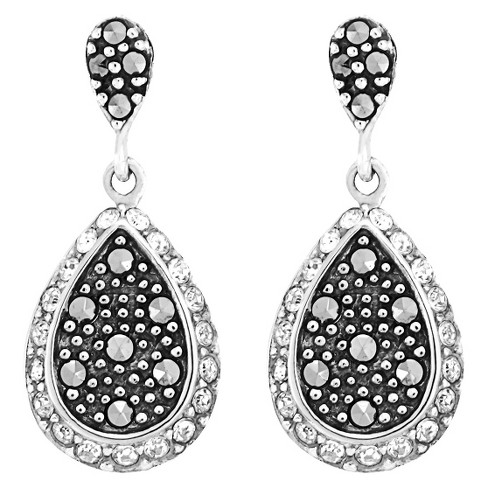 Marcasite and Crystal Earring - Silver - image 1 of 1