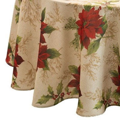 Festive Poinsettia Holiday Fabric Tablecloth - Multi - Elrene Home Fashions