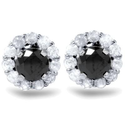 Pompeii3 1ct Black Spinel Studs & Diamond Halo Earring Jackets 14K White Gold