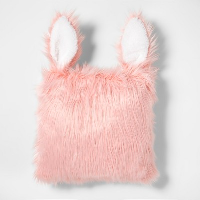 Rabbit Faux Fur Throw Pillow Pink - Pillowfort™