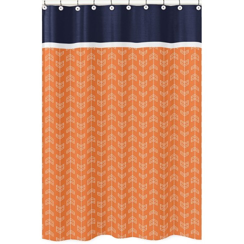 Arrow Shower Curtain Orange Navy