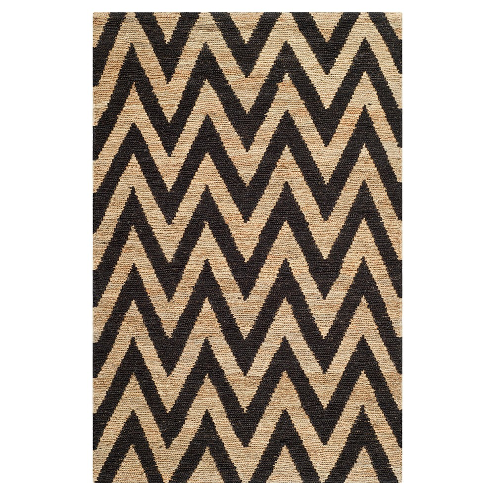 Black Natural Abstract Knotted Area Rug 4 39 X6 39 Safavieh