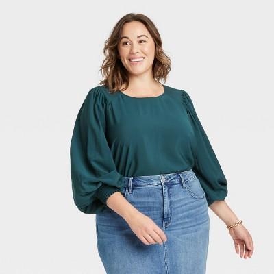 Women's Plus Size Plaid Crewneck Balloon Long Sleeve Flannel Blouse - Ava & Viv™
